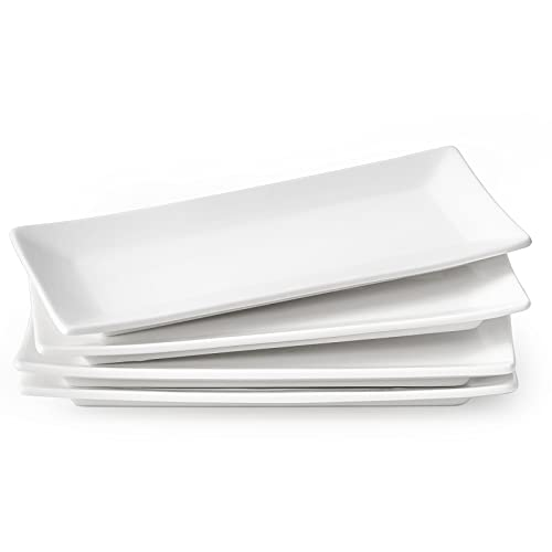 Set of 4 Rectangle Serving Plates, 10 inches long