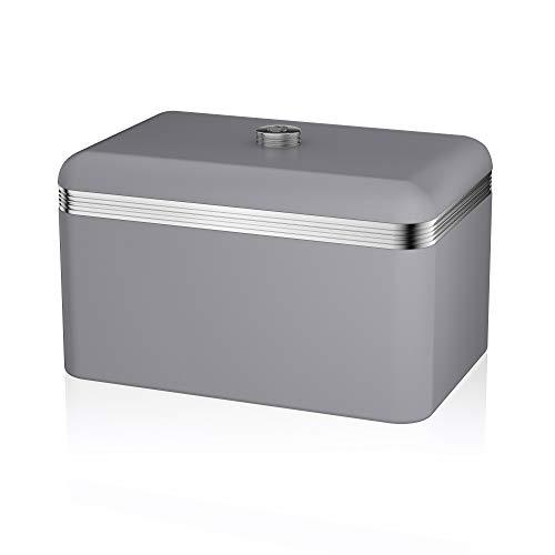 Swan Products Retro Contenitore Pane, Metallo, Grigio, 23.60x35.20x22 cm