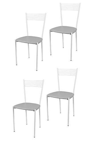 Tommychairs - Set 4 sillas Elegance para Cocina, Comedor, Bar y Restaurante, Estructura en Acero Pintado Blanco y Asiento en Polipiel Color Gris Claro