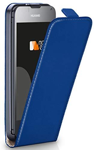 MoEx® Flip Case mit Magnetverschluss [R&um-Schutz] passend für Huawei Ascend Y300 | 360° Handycover aus feinem Premium Kunst-Leder, Dunkel-Blau