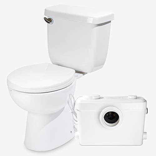 SUPERFLO Upflush Toilet with 600W Upward RY Macerator WHITE Silent & 3 Sec Flushing Toilet Pump For Basement Max Pumping to V32.8 & H263 Feet