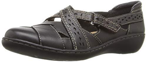 Clarks Women's Ashland Spin Q Slip-On Loafer, Black, 7 M US