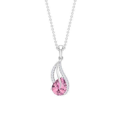 Colgante de turmalina rosa de 9 x 7 mm, colgante de diamante de halo de 0,14 quilates, collares de cadena de oro para mujer, Metal, Tourmaline Diamond,