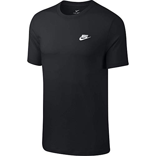 Nike Club Tee T-Shirt, Nero (Black/White 013), Large Uomo