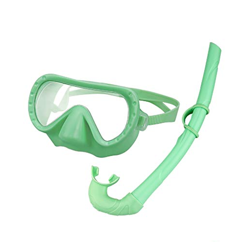MONKEY FOREST Snorkeling Set for Kids Anti Fog No Leak Adjustable Snorkeling Gear Free Breathing Scuba Snorkel Mask and Wet Snorkel with Mesh Bag for Boys and Girls Green