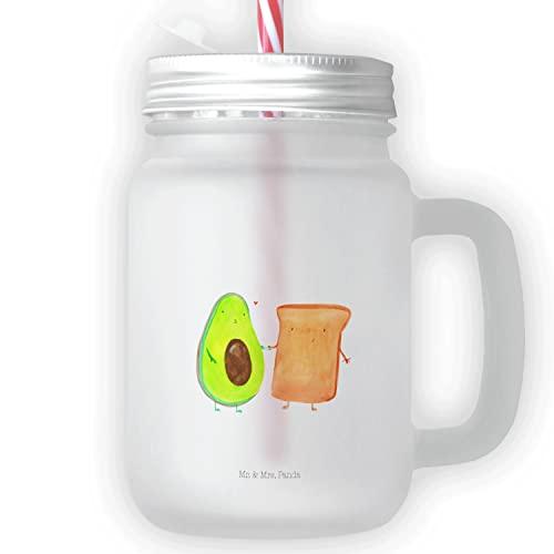 Mr. & Mrs. Panda Jarra de masón, vaso, vaso de beber, vaso con mango, vaso de verano, vaso de conservación, vaso de cóctel, Vaso de bebida Mason Jar aguacate + tostadas Ohne Text Hochkant - Color