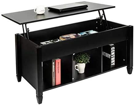 COLIBROX Lift Top Coffee Table with Hidden Storage Compartment &Shelf for Home Living Room Furniture Black