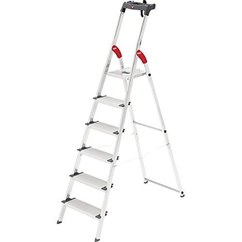 Hailo ProfiLine S150 XXL Alu-Stufenstehleiter (6 XXL-Stufen, Plattform-Verriegelung, belastbar bis 150 kg, Ablageschale) 8816-027