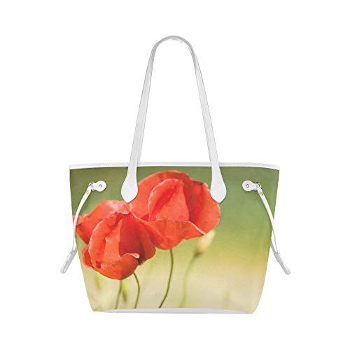 LONGYUU Outdoor-Einkaufstasche Mohnblumen Blume Rot Nahaufnahme Makro Pflanze Sommerbuch Einkaufstasche Handtaschen Tasche Große Kapazität Wasserdicht Mit Haltbarem Griff