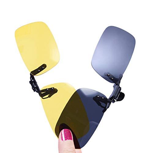 LUFF 2-Pack Clip en gafas de sol HD Day + Night Vision Gafas de sol polarizadas, visión nocturna Driving Glasses antideslumbrante para hombres/Wemen (Black + yellow)