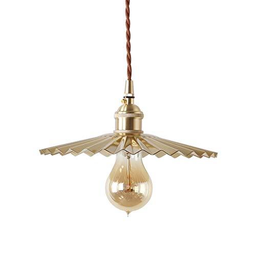 Yyqx Lámparas Colgantes Latón Retro Plisado lámpara de la lámpara de Cobre Completa de la Personalidad de una Sola Cabeza pequeña araña Lámpara de Techo Colgante