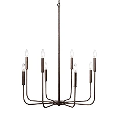 PEESIN Candle Chandeliers Light Fixture, 8 Light Modern Farmhouse Chandelier Large, Dining Room Lighting Fixtures Hanging, Industrial Style Iron Chandelier for Kitchen, Bedroom, Island, Foyer
