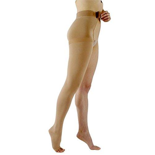 Sigvaris 503W - Medias de compresión de goma natural 30-40 mmHg para pierna izquierda, dedo del pie, abierto, muslo alto, con fijación a la cintura, H&PC-11393, Muslo Hi, Beige, 1