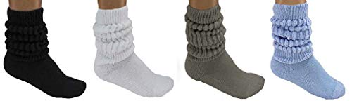MDR Women and Men Slouch Socks Extra Tall/Extra Heavy Cotton Socks Made in USA Size 9-11, Pack of 4 (1 Black, 1 White, 1 Gray, 1 Light Blue)