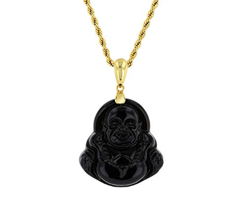 Smiling Laughing Buddha Black Jade Pendant Necklace Rolo Box Chain Genuine Certified Grade A Jadeite Jade Hand Crafted, Jade Neckalce, 14k Gold F Buddha necklace, Jade Medallion (Black Buddha, 20)