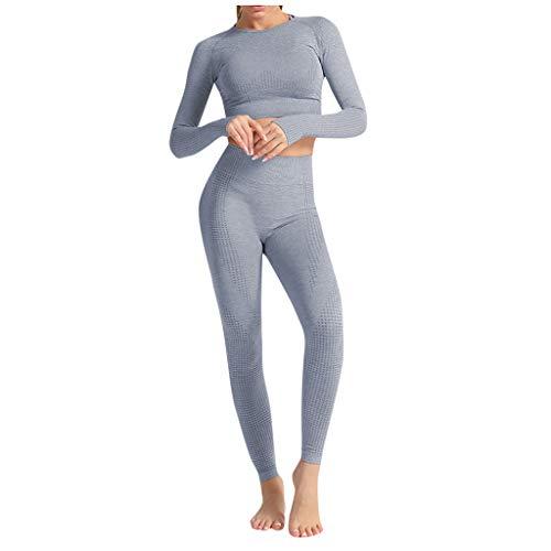 Carolilly 2 Pezzi Completo Sportivo Donna per Yoga Tuta Sportiva Sottile Casual Tinta Unita Felpa a Maniche Lunghe+Pantaloni a Vita Alta