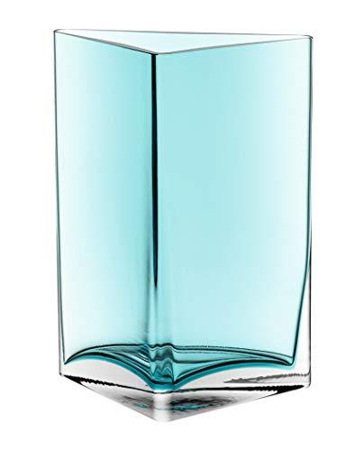 Leonardo Centro Vase Dreieck türkis, B/H/T: 18,3/23,5/10 cm, handgefertigt, lackiertes Glas, 046951