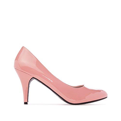 Elegante Pumps aus rosanem Lacklederimitat für Damen und Mädchen mit 9,5 cm Absatz – High-Heels – AM422 – Größe EU 39