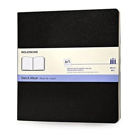 """Moleskine Art Sketch Album, Soft Cover, Square (7.5"""" x 7.5"""") Plain/Blank, Black, 88 Pages"""
