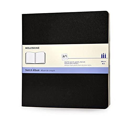 Moleskine - Art Collection, Cuaderno de Dibujo con Tapa Dura, Papel Apto para Bolígrafos, Lápices, Carboncillo, Color Negro, Tamaño Cuadrado 19 x 19 cm, 88 Páginas