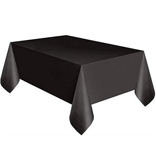 EDCV tafelkleed Onner rechthoek tafelkleed, plastic feesttafelkleed voor banket bruiloft partij, zwart