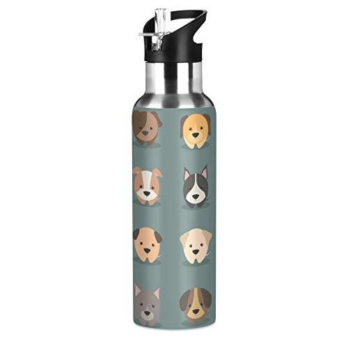 RURUTONG Botella de agua para perros de acero inoxidable aislada, 2010122, mantiene líquidos calientes o fríos con boca ancha y pajita para fitness, gimnasio, camping, deportes al aire libre