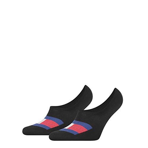 Tommy Hilfiger Mens Flag Men's Footie (2 Pack) Socks, Black, 43/46