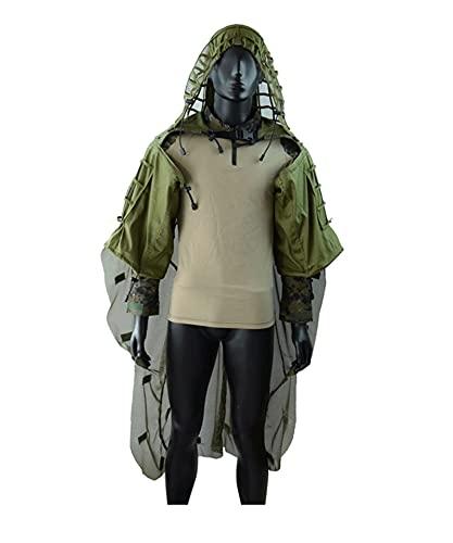 Juego de Ghillie Airsoft Camuflage Suit Cloak, Viper Hood Suit Base Ghillie Netting Sniper Set Mess Foundation desmontable, adecuado para Airsoft CS Games Woodland Games Ejército Adulto 3D al