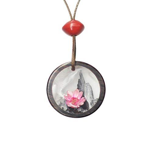 Traditionele Chinese schilderij hanger halsketting voor vrouwen hout hars persoonlijkheid mode minderheid design moederdaggeschenk, A