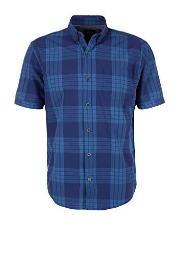 s.Oliver Herren 130.10.004.11.120.2042168 Hemd mit Button-Down-Kragen, Surf Blue Check, XL