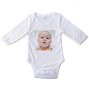 Bodies Bebe Personalizados con Foto/Diseño. Regalos Personalizados para Bebés. Bodys Personalizados Manga Larga. Varias Tallas. Interior 100% Algodón. Talla 6-9 Meses