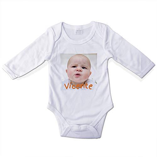 Bodys Bebe Personalizados con Foto/Diseño. Regalos Personalizados para Bebés. Bodies Personalizados Manga Larga. Varias Tallas. Interior 100% de Algodón. Talla 3-6 Meses