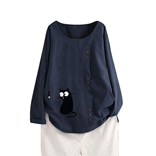 TAMALLU Damen T-Shirts Mode Lässig Baumwolle Leinen Übergröße Lange Ärmel Pullover Tunika(Marine B,M)