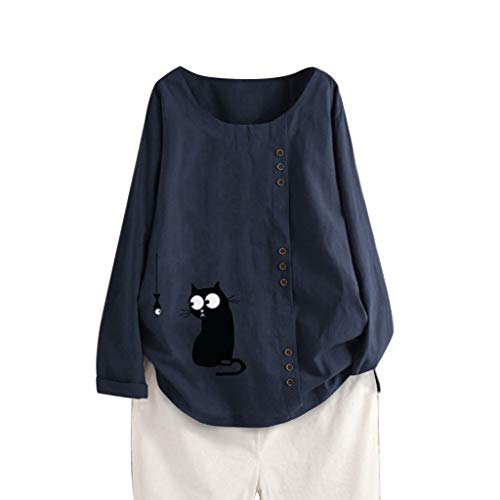 LOPILY Leinenblusen für Damen Große Größen 50 Katzen Muster Gedruckte Shirts mit Asymmetrischer Knopfleiste Langarm Tunika Leinen Tops Lockere Lässige Bluse Long Shirts Damen Herbst (Navy, 44)