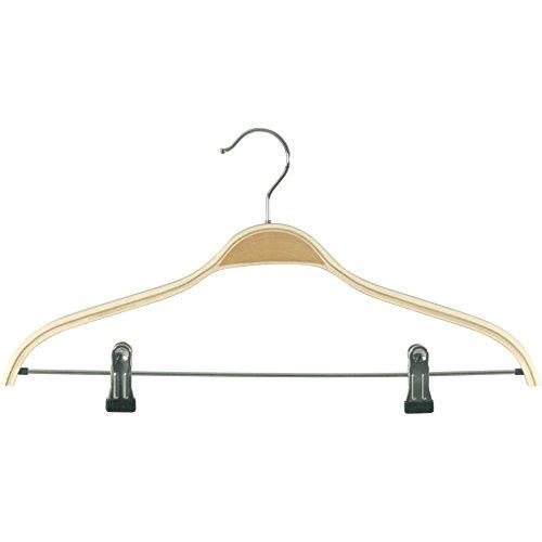 Kleiderbügel Klammerbügel aus Schichtholz mit 2 Clips/Klammern Breite 43 cm (10 Stück)