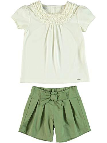 Monna Rosa Milano Peuter Baby Girl%100 Katoen Zomerdoek Set met Blouse en Korte Geschikt voor 6-24 Maanden Casual Stijlvolle Premium Outfit