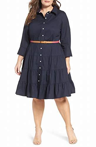 Eliza J womensEJ7W4273Plus Size Shirt Dress Three-Quarter-Sleeve Dress - Blue - 20 Plus