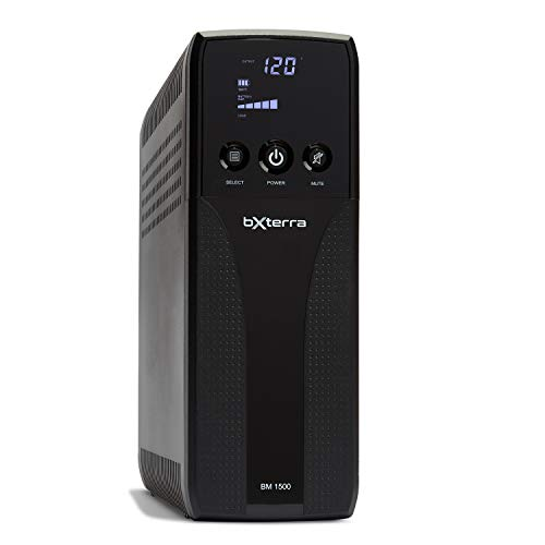 bXterra 1500VA UPS BM1500AVRLCD Intelligent LCD UPS Battery Backup, 10 Outlets, AVR, Easy Access Replaceable Battery, RJ11/RJ45/Coax, Contoured Design, Mini-Tower