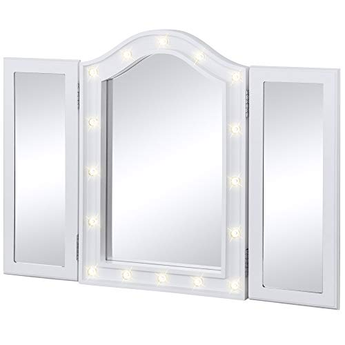 Best Choice Products Lit Tabletop Tri-Fold Vanity Mirror w/LED Lights (White)