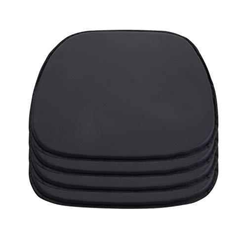 DORAFAIR Envoltorio de Asiento Cojines para Sillas, Juego de 4 Cojín de Cuero Estilo Simple, 38 x 39 x 2 cm, Negro