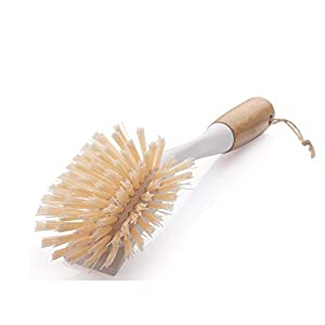 Amazer 2-Pack Dish Brush, Scrub Brush Cleaner with Bamboo Long Handle Good Grip Kitchen Dish Washing Brushes for Pot Pan… |