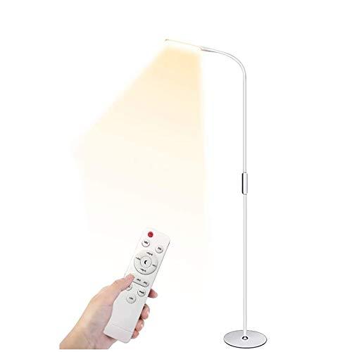 Stehlampe LED Dimmbar mit Fernbedienung 9W Leselampe LED Stehleuchte,Flexibler Schwanenhals,5 Helligkeitsstufen,5 Farbtemperaturen,Augenschutz Stehlampe für Wohnzimmer, Schlafzimmer und Büro-Weiß