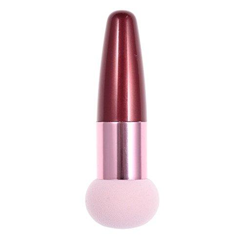 SNOWINSPRING Brosse eponge creme fond de teint liquide cosmetique,Brosse rose en forme de la tete de champignon et poignee rouge et Pinceau fard a joues