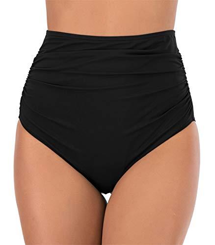 PANAX Damen Frauen Badehose - Urlaub Bikinihose mit Hoche Taille Design Swimwear Tankinihose in Schwarz Style2, Größe XL