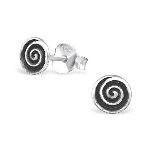 Laimons Orecchini a pressione da donna gioielli da donna Spirale ossidato Argento Sterling 925
