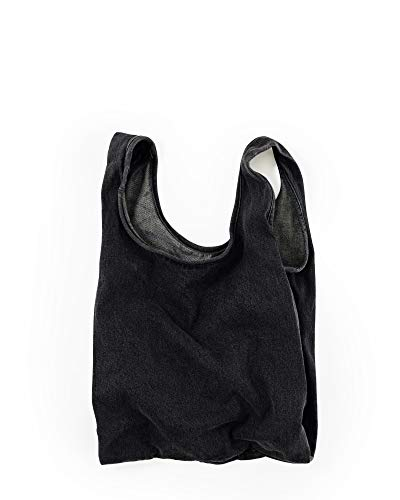 BAGGU Medium Reusable Shopping Bag, Eco-Friendly Foldable Grocery Tote or Lunch Bag, Washed Black