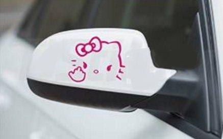 2x Hello Kitty Handzeichen Aussenspiegel Aufkleber, Tussi Car Tuning Sticker, Gr: (BxH) 90x75mm