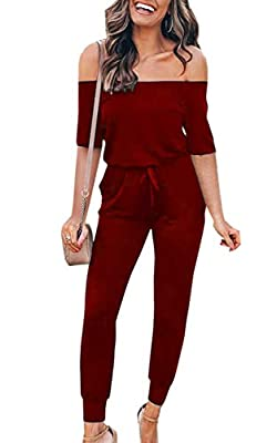 Angashion Women's Jumpsuits - Off Shoulder Half Sleeves Solid Color Drawstring Belt Long Pants Playsuit Romper with Pockets Wine Red XL