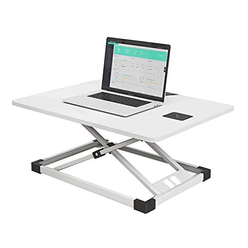 Altura Ajustable Stand Up Desk Riser Workstation Convertidor Escritorio Pie 25,5 Pulgadas con Resorte Gas para Casa Oficina (Color : White)