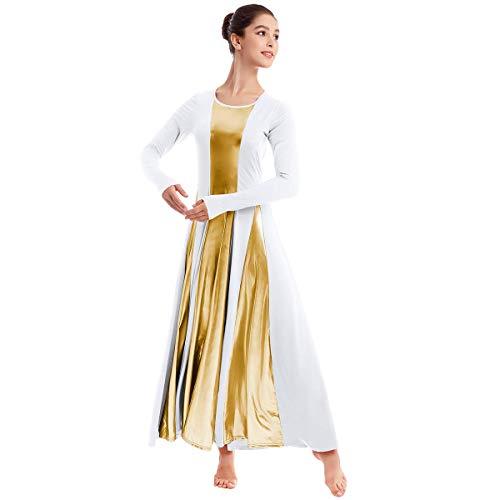 OBEEII Femmes Robe de Danse Liturgique à Manches Longues Justaucorps de Gymnastique Robe de Ballet Classique Dance Combinaison Bodysuit Costume de Danse Blanc L